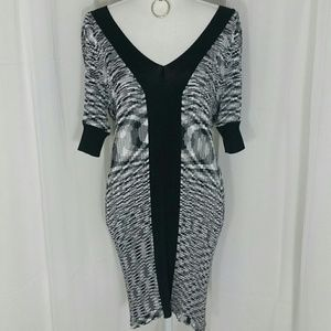 bebe Black and White Design dress